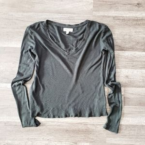 Anthro Cloth & Stone army green v neck thermal top